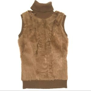 BCBGMAXAZRIA Small Fur Turtleneck Sweater Vest